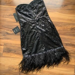 Lulu's sequin and feather trim halter dress Xs